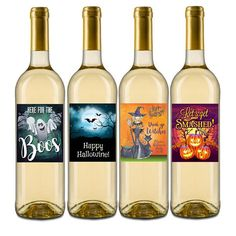 Halloween wine labels, set of 4 fabulous designs for your guest enjoyment or to add to your Halloween party decor. This printed set of Halloween wine labels fit most standard 750 ml wine bottles. Halloween School Treats, Halloween Party Supplies, Cute Halloween Costumes, Halloween Prints, Halloween Party Decor, Easy Halloween, Halloween Celebration, Family Halloween, Halloween Cocktails