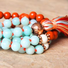 Amazonite & Red Jasper Mala – For Healing, Detox, Balance & Stress Relief This 108 bead mala is an eye catching combination of the beautiful mint