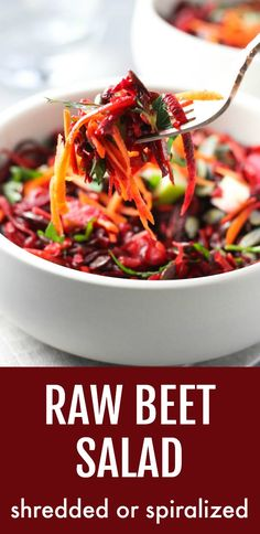 This raw beet salad is crunchy refreshing and very filling. It's made with shredded or spiralized fresh beets with a very simple dressing. It's perfect as a side salad or cold side dish. This healthy recipe is very easy to make and is ideal for meal-prep. Beet Recipes Healthy, Beet Salad Recipes, Raw Food Recipes, Vegetable Recipes, Cooking Recipes, Raw Vegetable Salad, Vegetable Sides, Healthy Salads, Smoothie Recipes