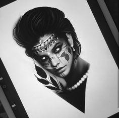 arts//tattoos tattoo drawings, tattoo designs e Life Tattoos, Body Art Tattoos, Sleeve Tattoos, Tattoo Sketches, Tattoo Drawings, Girl Face Drawing, Tattoo Project, Oldschool, Black White Art