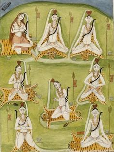 Hindu Cosmos — Depicting Shiva Seated in Eight Yogic Postures...