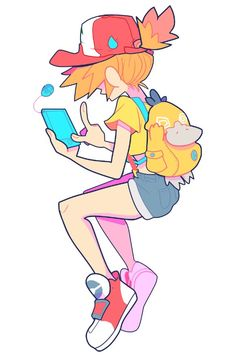 I'm pretty sure this is Misty playing Pokémon Go :3
