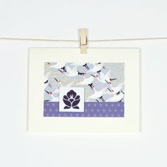Good Luck Cranes Blank Greeting Card Lotus Flower Amethyst Purple Violet Thank You Birthday Card Polka Dots via Etsy