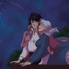 Sophie and Howl watching the sparkling stars in the night sky together Howl's Moving Castle, Studio Ghibli Art, Studio Ghibli Movies, Hayao Miyazaki, Howl Movie, Howl And Sophie, Otaku, Avatar, Castle In The Sky