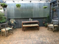 Up cycle, timber, succulents outdoor area