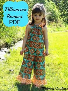 Whimsy Couture Sewing Pattern Tutorial PDF -- Pillowcase Romper -- preemie through 10 girls w. Sewing Patterns Free, Free Sewing, Sewing Tips, Sewing Hacks, Sewing Tutorials, Sewing Designs, Childrens Sewing Patterns, Kids Patterns, Pattern Ideas