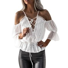 63d959087b90 See-Through Lace Blouse Chiffon Blouses
