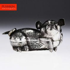 ANTIQUE 20thC CAMBODIAN SOLID SILVER PIG FIGURE BOX c.1920