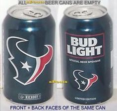 Collectible 2016 NFL Kickoff Houston Texans Bud Light Beer Can Football 2 Cans #BudweiserBudLight #HoustonTexans