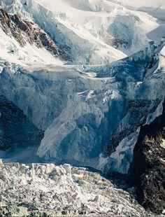 Cascada de hielo en el Mont Blanc  desde Chamonix