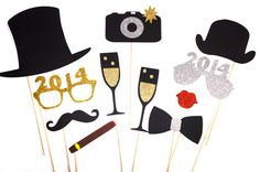 2014 New Years Eve Photo Booth Props - Silver and Gold - New Years Party Props - set of 11 - GLITTER photo props on Etsy, $38.00