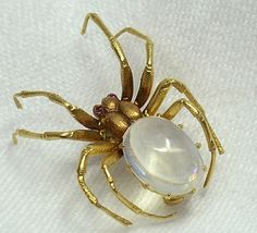 Moonstone spider brooch with ruby eyes. Circa 1910-1915. moonston spider, spider brooch, spiders, yellow gold, rubi spider, bug, antiqu yellow, gold moonston, antiques