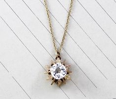 Antique Paste Diamond Solitare Pendant, Victorian 10k Gold Star Mounting, Sparkling Statement Bohemian Bridal Necklace Holiday Gift Jewelry by TheEdenCollective on Etsy https://www.etsy.com/listing/251328540/antique-paste-diamond-solitare-pendant