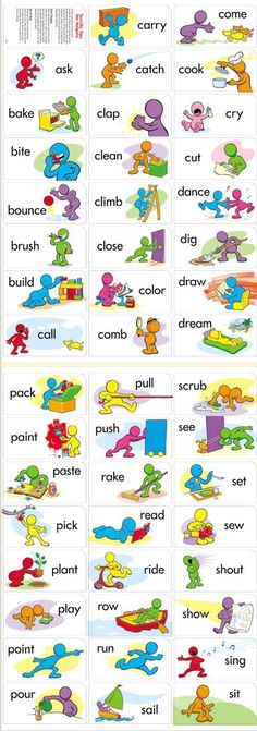 Printable verbs for flashcards / fluency in English vocabulary. Can be used for gamification to consolidate knowledge. English Verbs, Kids English, English Vocabulary Words, Learn English Words, English Writing, English Study, English Grammar, English English, English Resources