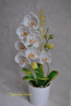 Купить Орхидея из бисера - сиреневый, краснодар, бисер, цветок ручной работы…