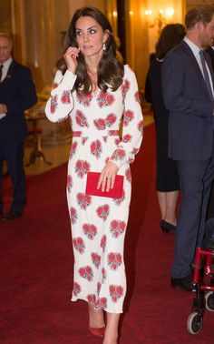 18 October 2016 - British Royal Family hold a reception for Olympics Teams - dress by Alexander McQueen