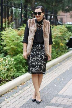 Joe Fresh faux fur vest and lace skirt