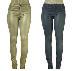 New BLEULAB Women's Skinny Jeans Detour Legging Jeggings Gold Gray Coated #Bleulab #SlimSkinny