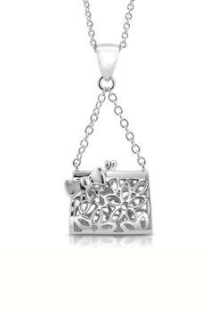 Floral Handbag Locket Pendant Necklace in Sterling Silver.