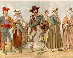 Traje nacional de 1897 antiguo impresión, Volkstrachten, cromolitografía, Ropa Nacional de Austria, Hungría, Croacia, Francia, España, Italia