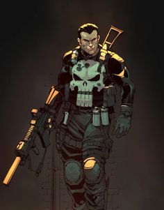 The Punisher by Max Dunbar, Colors: Yin Faowei Punisher Marvel, Marvel Dc Comics, Marvel Heroes, Punisher Max, Punisher Cosplay, Comic Book Characters, Comic Book Heroes, Marvel Characters, Comic Character