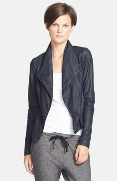 Weekend luxe Vince 'Paper' Leather Scuba Jacket available at Nordstrom Jackets, Waxed Cotton Jacket, Slim Fit Jackets, Great Hair, Leather Fashion, Autumn Winter Fashion, Ideias Fashion, Just For You, Leather Jacket