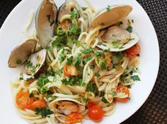 Clams with Linguini, Garlic, and Tomatoes | Serious Eats : Recipes  Maybe with mussels instead.