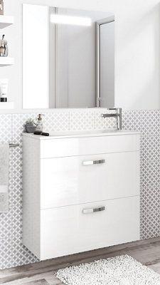 Mueble Baño Con Lavabo Nadi Blanco 70 Cm Con Lavabo Y Espejo Leroy Merlin