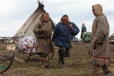 Bovanenkovo ,Yamal Peninsula, Russia, 09/07/2010..The Nenets, indigenous nomadic reindeer herders, prepare to leave their overnight camp on ...