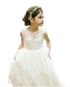5c4adf9527d Ikerenwedding Lace Flower Girl Wedding Dress Gorgeous Princess Gown Ivory  Age 10