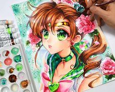 Sailor Jupiter by Naschi - World of Eternal Sailor Moon Sailor Moon Manga, Sailor Moons, Arte Sailor Moon, Sailor Moon Fan Art, Sailor Jupiter, Sailor Venus, Anime Girl Drawings, Cute Drawings, Anime Kunst