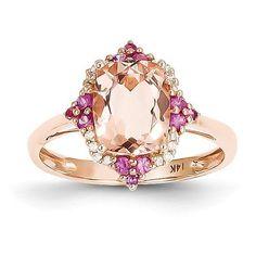 14k Rose Gold Genuine Morganite, Diamond and Pink Sapphire Ring , - Sparkle & Jade - 1