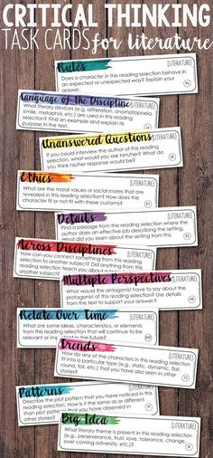 Add depth and complexity to your instruction with these Critical Thinking Literature/Reading Task Cards. These task cards are perfect for any fiction reading materials: novels, short stories, anthologies! Prepare to hear some amazing discussion in your cl Reading Strategies, Reading Skills, Teaching Reading, Teaching Art, Reading Comprehension, Teaching Short Stories, Comprehension Activities, Guided Reading, 6th Grade Reading