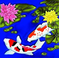 """Koi Fish - Decorative Ceramic Art Tile - 8""""x8"""" by entiles.com. $27.99. Hand crafted art tile, then kiln-fired at high temperature, brilliantly colored, with complex glazes and unique textures. Backing is removable enabling the tile to be installed as a standard tile. We make every effort to process your order within 24 hours & FREE Gift Box Included with purchase. LICENSED WORLDWIDE image approved by artist. Hang on the wall or display using the built-in easel / (use..."""