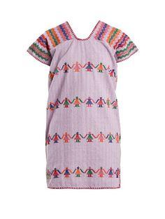 Pippa Holt Embroidered Cotton Kaftan In Light Purple Red Blanket, Cotton Kaftan, Geometric Embroidery, Light Purple, Style Guides, Cotton Canvas, Short Sleeves, Summer Dresses, Model
