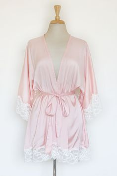 Momoko Lace Trim Silk Satin Kimono in Peach Pink by SpurTheMoment