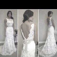 Lace wedding dress with low back neckline