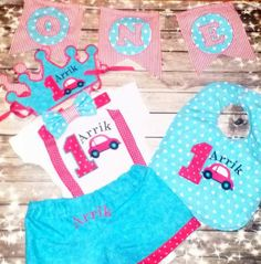 Listing includes the following items: Shorts with name on the back Bib with free personalization Tshirt or onesie with embroidery and ribbon suspenders Bow tie or Neck tie that velcros  Personalized Crown
