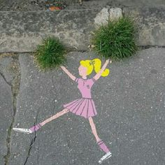 "33 Likes, 2 Comments - Demara McCarthy (@deecoen) on Instagram: ""#funnystreetart #streetart #graffiti #instagram #insta_good #insta_graffiti #cheerleader #grass…"""