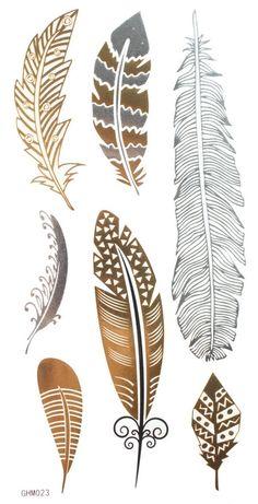 "Gold & Silver & Black feather design Metallic Temporary Tattoos, tattoo Size: 6.69""x3.94"""