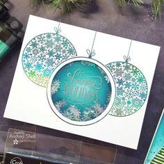 Ornate Ornaments Shaker Card by Therm O Web Recycled Paper Crafts, Deco Foil, Summer Dress Patterns, Shaker Cards, Glass Slipper, Distress Ink, Cool Websites, Craft Projects, Craft Ideas