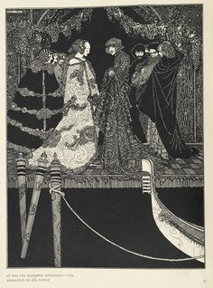 """""""It was the Marchesa Aphrodite - the adoration of all Venice"""". From The Assignation.  Tales of Mystery and Imagination by Edgar Allan Poe with illustrations by Harry Clarke, 1923"""