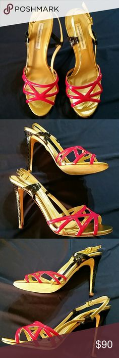 Diane Von Furstenberg Strappy Heel Sandal size Very minor signs of wear,  overall excellent condition. Approximately heel.