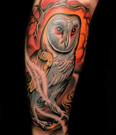 Illusion: Tattooist Russ Abbott is part of the team at Ink & Dagger studio. His work is varied from realistic portraits to comic book sci-fi scenes.     http://illusion.scene360.com/art/35150/tattoos-it-is-not-harry-potters-owl/