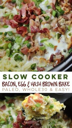 Easy slow cooker bacon, egg and hash brown bake is the perfect family breakfast or meal prep breakfast! #paleo #slowcooker #whole30breakfast #paleoslowcooker