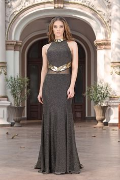 Briseida is a mesmerizing luxury evening dress  with a sleek bodice, illusion neckline and a mesh cut out around the waist.
