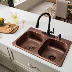 SINKOLOGY Angelico DropIn Handmade Pure Copper 33 in. 3