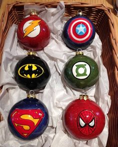 Superhero Christmas baubles painted at Hotpotz Pottery Painting Studio Diy Christmas Baubles, Christmas Ornament Crafts, Christmas Art, Christmas Crafts, Harry Potter Christmas Decorations, Disney Ornaments, 242, Pottery Painting, Painting Studio