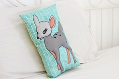 TURQUOISE BAMBI PILLOW-Kids Pillow,Nursery Decor,Bambi,animal pillow,Nursery bedding,Security object. BAMBI PILLOW - Softy Bambi pillow will quickly become your little one favorite cuddle buddy. Decorate your loved one nursery or children room with this beautiful Bambi pillow. With the use of digitally printed colorful Bambi on one side, soft cotton fabric on the other. Looking for sweet baby girl shower gift? This Bambi kid's pillow will be a perfect gift. *This product is handmade sewn...