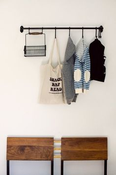 15 Ways to Use IKEA's Fintorp System All Over The House | Apartment Therapy (landing strip coat hanger and kitchen veg/fruit)